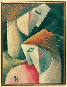 """""""Ismael Nery (1900-1934). Duas figuras, c.1928. Óleo sobre cartão colado em madeira. Coleção Hecilda e Sérgio Fadel"""" Fonte: Divulgação/MAR"""